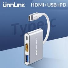 Unnlink USB C to HDMI Adapte Type C to HDMI USB3.0 PD UHD4K Thunderbolt3 for MacBook Galaxy S20/S10/9 Dex Mate 20 P30 P40 Switch