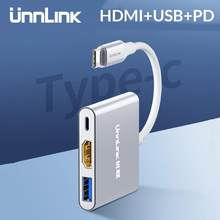 Unnlink usb C do HDMI adapter typu C do HDMI USB3.0 PD UHD4K Thunderbolt3 dla MacBook Galaxy S10/S9/S8 Dex Mate 20 P20 P30 przełącznik(China)