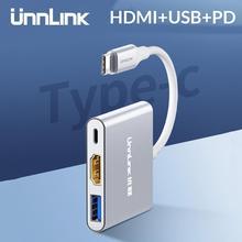Unnlink USB C vers HDMI Adapte le Type C vers HDMI USB3.0 PD UHD4K Thunderbolt3 pour MacBook Galaxy S20/S10/9 Dex Mate 20 P30 P40 Switch
