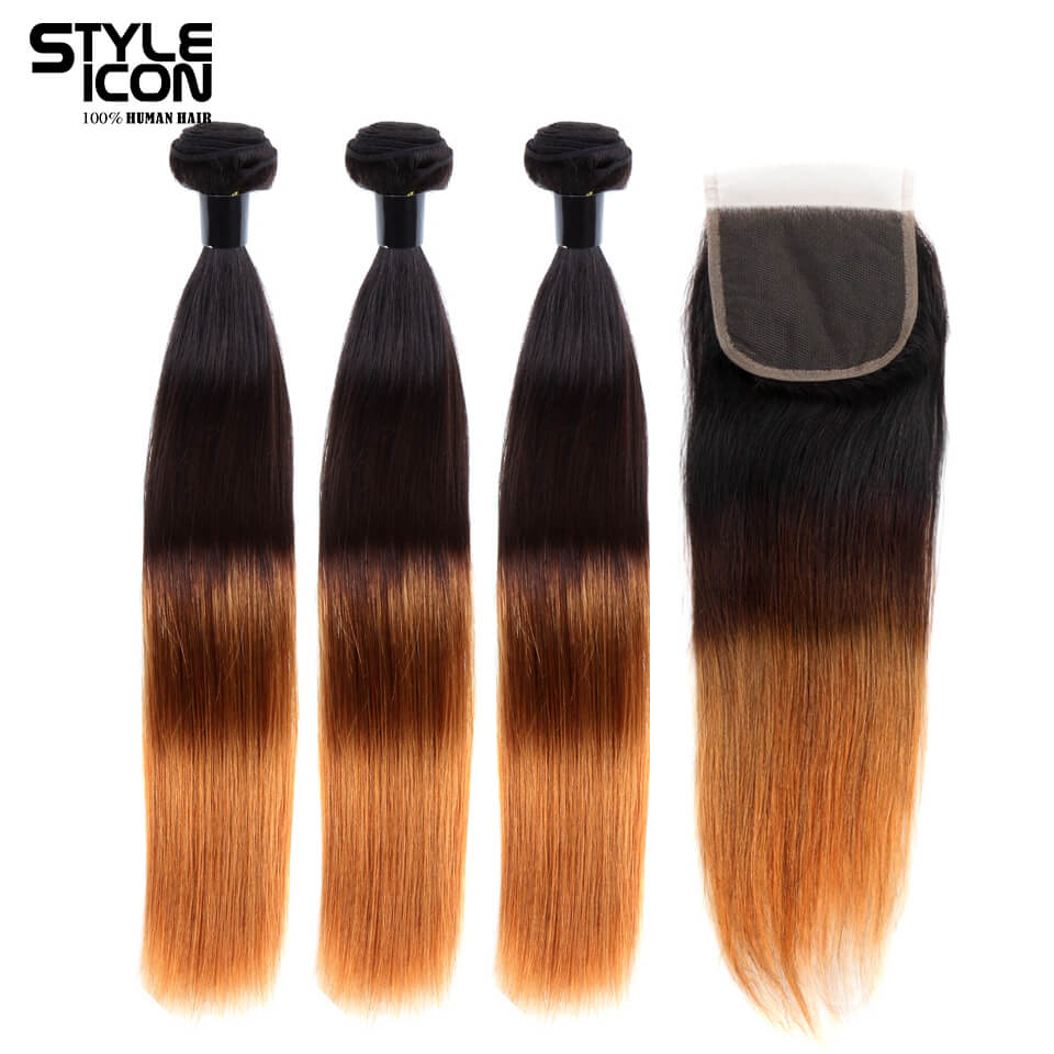 StyleIcon Pre-Colored Remy Brazilian Straight Hair 3 Bundles with Closure Ombre Brown Human Hair weave 4x4 Lace Closure T1b430