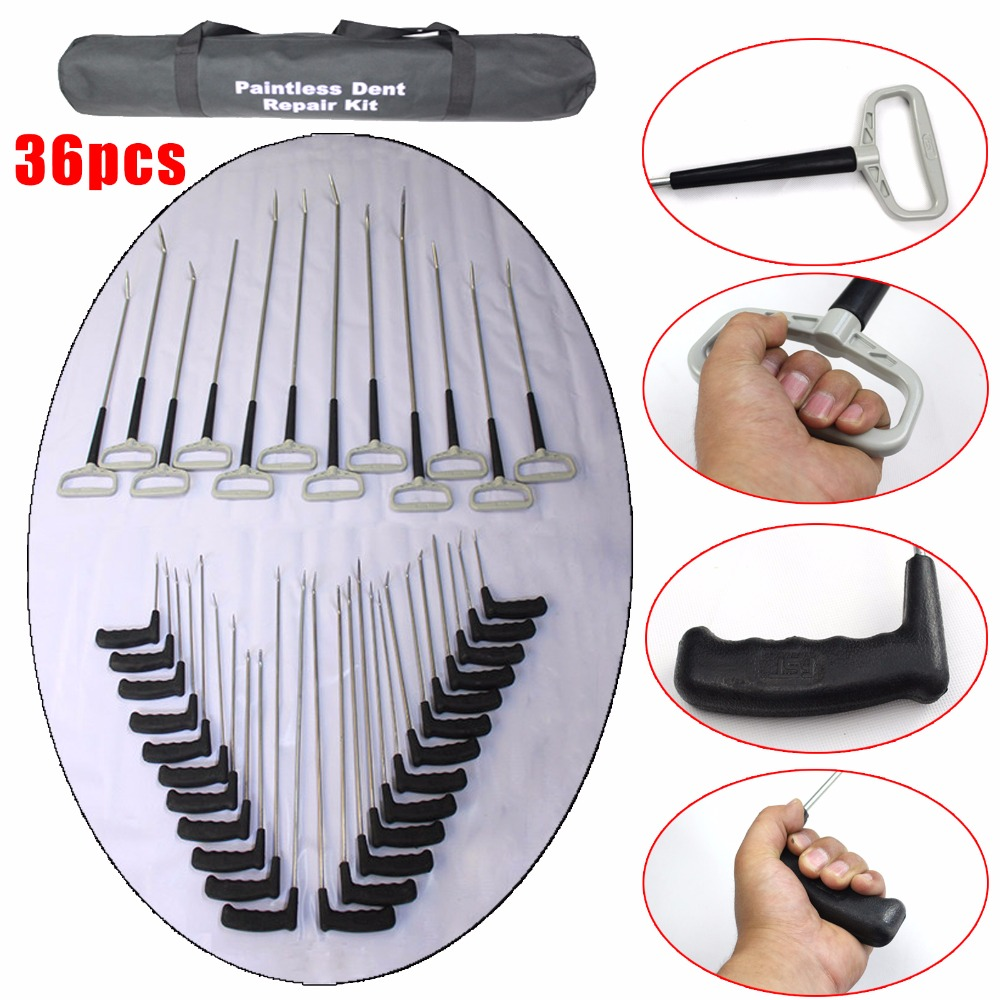 PDR KING rod 36pc Paintless Dent Repair Kit PDR KING hook Car body dent repair tools