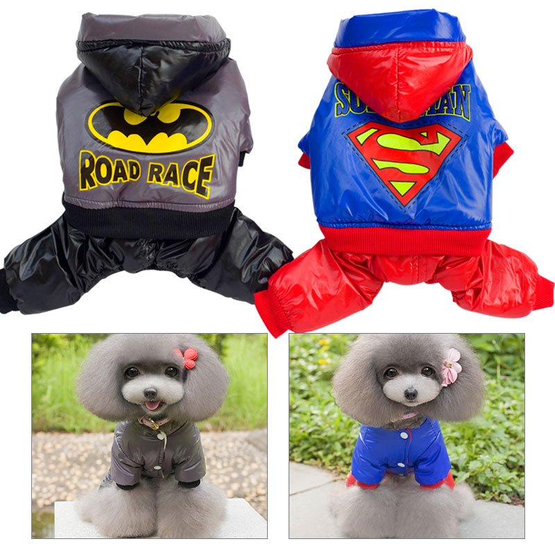 Superman Pet Dog Clothes For Dogs Thickening Warm Dog Hoodie Coat Autumn Winter Batman Puppy Dog Jumpsuit Costume S-XXL PT038