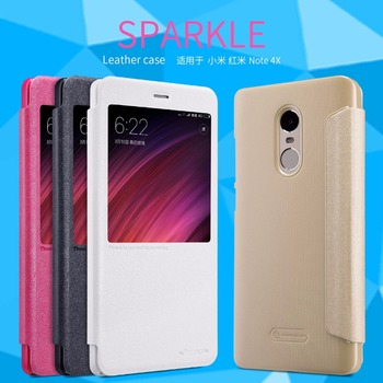 For xiaomi redmi 6/6A case NILLKIN sparkle PU leather flip cover smart wake up window for redmi note 4x/Note 5A/redmi 4/4x/4 pro