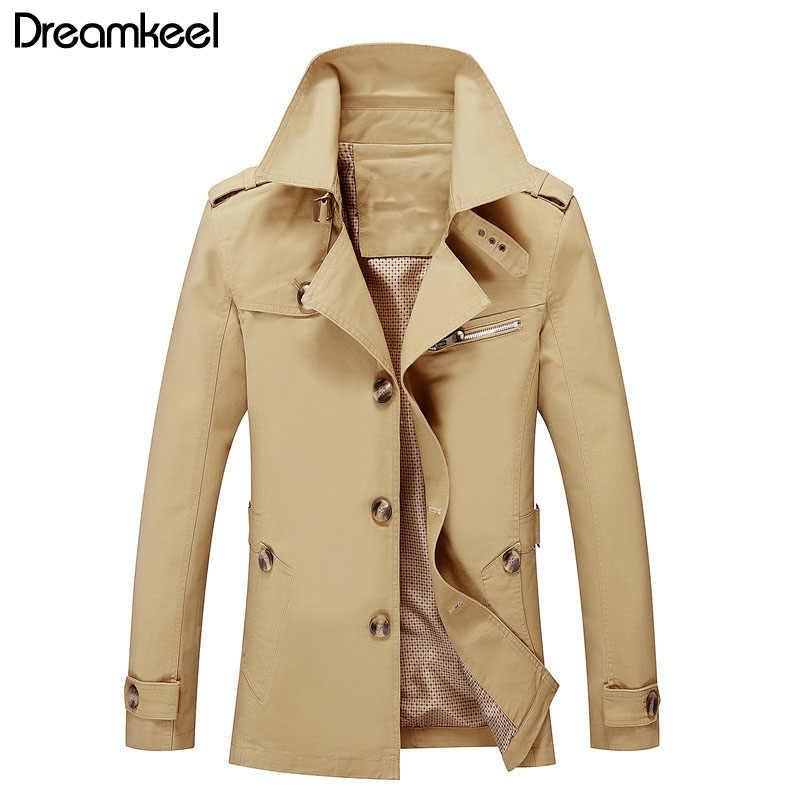 Mens Trench Coat Estilo Britânico Casaco Fino Nova Moda Homem Designer de Primavera Outono Blusão de Médio-Longo Masculino Plus Size m-5XL Y