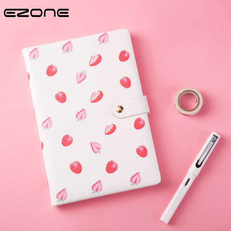 EZONE Lovely A5 Notebook Strawberry Pineapple Ice cream Pattern DIY Diary Monthly Planner Meeting Plan/Agenda Memo Pad Papelaria 2018 pet transparent sticky notes and memo pad self adhesiv memo pad colored post sticker papelaria office school supplies