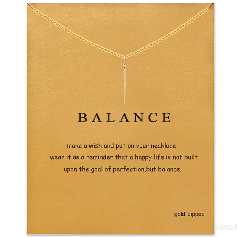 2018 New Vertical Bar Drop Pendant Short Chain Choker Necklace For Women Golden wish necklace with card Jewelry As gift BALANCE image
