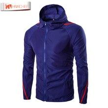 100% Original HNMCHIEF Moda Protetor Solar Com Capuz Jaqueta de Roupas masculinas Jaqueta Casual Windbreaker Zipper Coats Outwear Dropship