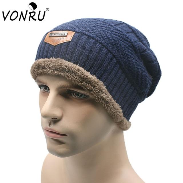 Marca invierno terciopelo Gorros sombrero para hombres mujeres Beanie  Skullies tejer caliente hombre Baggy Gorros ef3d77e2d66