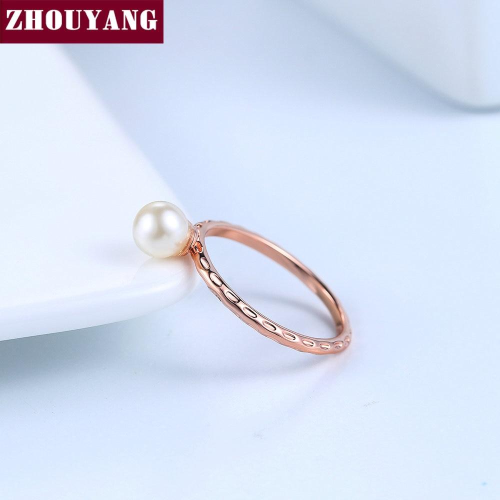 Ol Dame Stil 6mm Imitation Perle Rose Gold Farbe Ring Volle Grossen