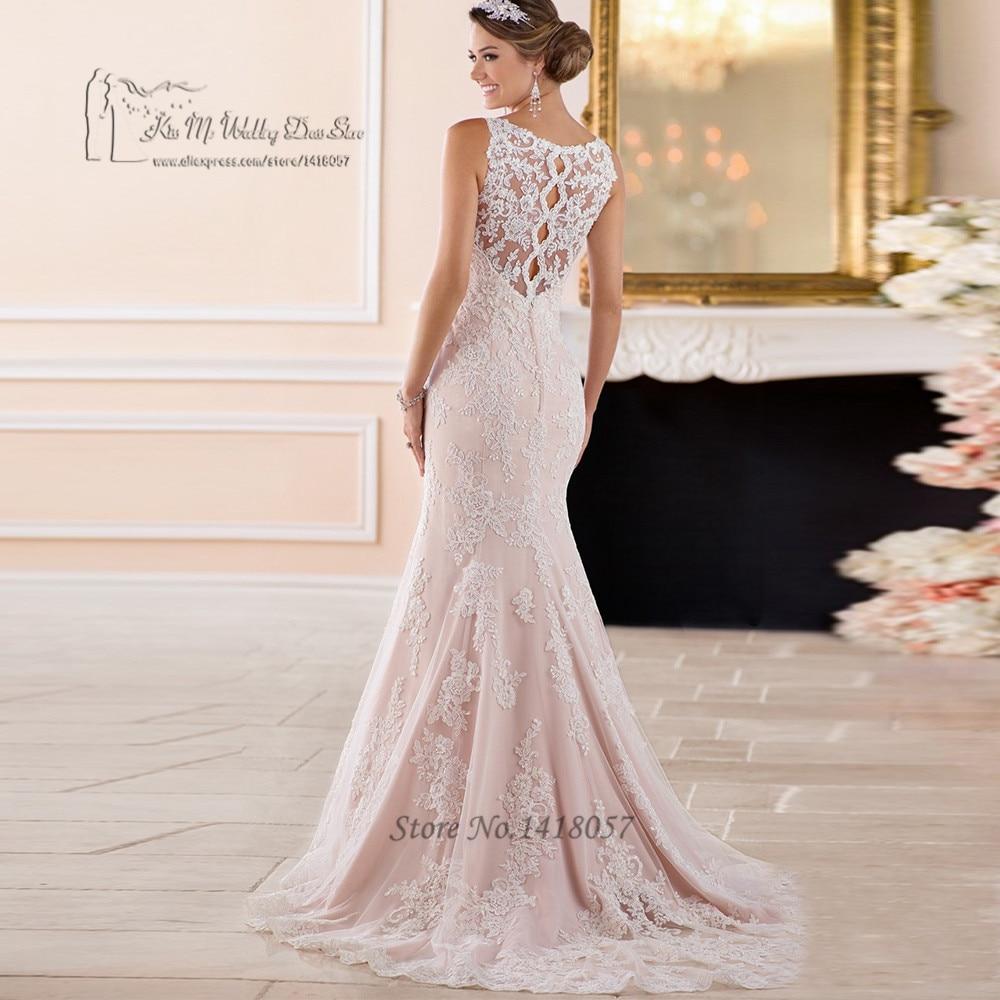 Vintage Blush Pink Mermaid Wedding Dresses 2017 Applique Lace Wedding Gowns Vestido de Noiva Sereia Renda