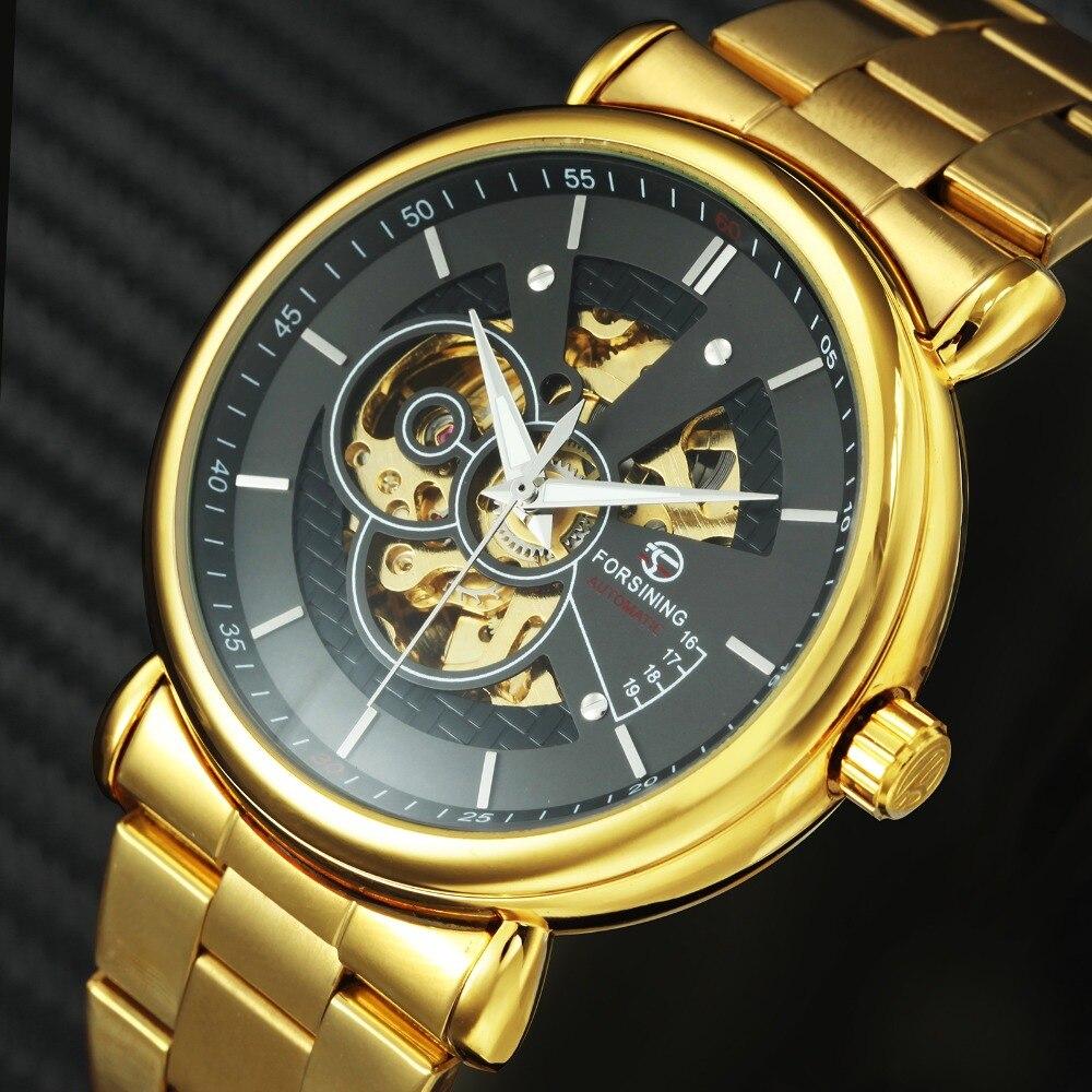 FORSINING 2019 Neue Automatische Mechanische Uhr Goldene Skeleton WINNER Herren Uhren Top Brand Luxus Mit Jewel