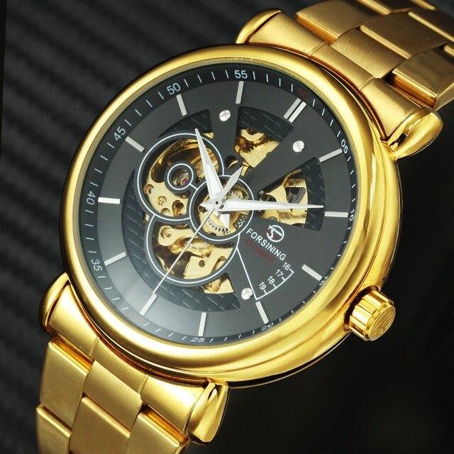FORSINING 2019 New Automatic Mechanical Watch Men Golden Metal Strap Skeleton WI
