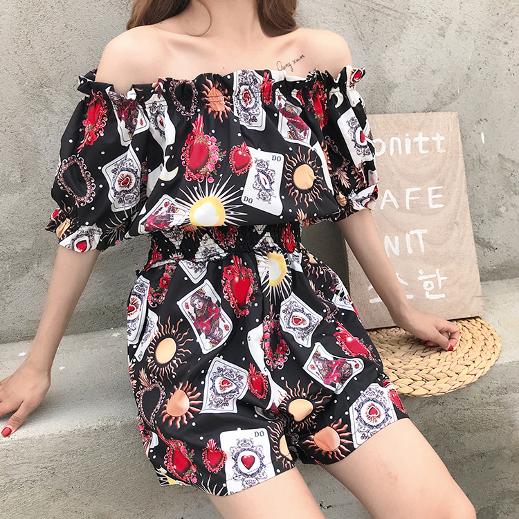 Summer women crop top fashion slash neck Elastic waist Short sleeve large flower printed wide vadim leg jumpsuit Ladies Overalls