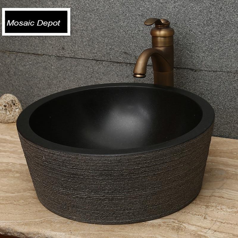 Black granite sinks bathroom stone basin countertop sinks vanity ...