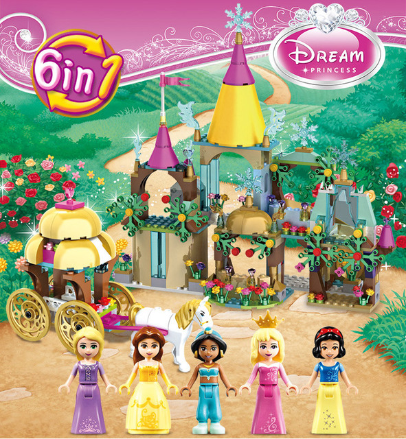 Aliexpress com : Buy Story Fairy tale princess 6in1 castle building block  Belle snow white Aurora Jasmine Rapunzel figures carriage bricks toys from