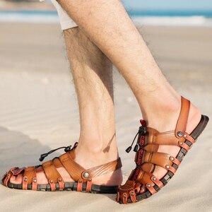Image 5 - JUNJARM 2020 nouveaux hommes sandales dété tongs pantoufles hommes en plein air plage chaussures décontractées pas cher mâle sandales Sandalia Masculina 47