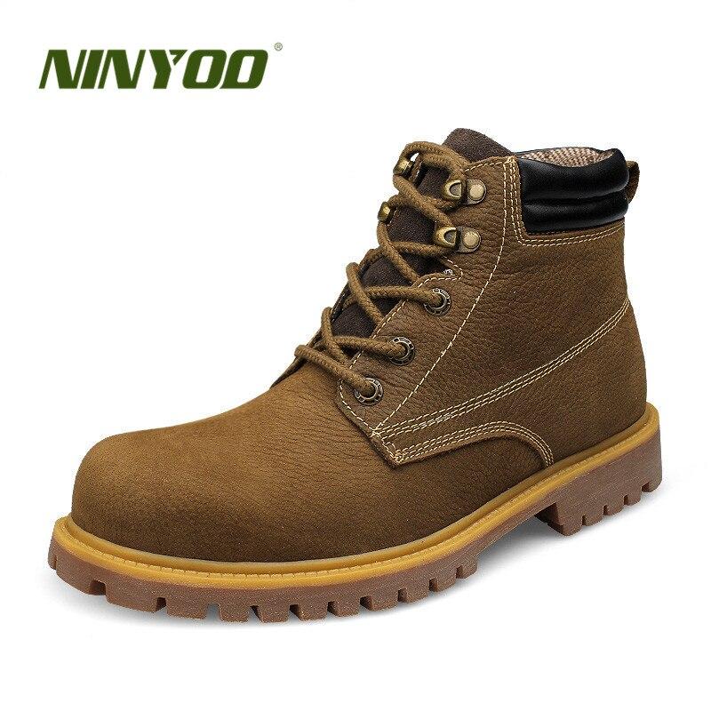 Botas de trabajo para hombre al aire libre de tamaño pequeño NINYOO botas de invierno de cuero genuino a prueba de agua a prueba de desgaste botas del ejército hombres Plus Size36 48