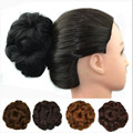 Women Fashion Elastic Flower Chignon Hepburn's Style Hairpieces 50g Lady Curly Black Brown Hair Bands Synthetic Hair Bun 9Colors