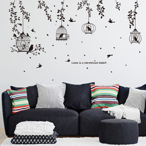 % Black birdcage leaves silhouette Branch animal bird flowers wall stickers 3d living room bedroom children wall decals murals(China)