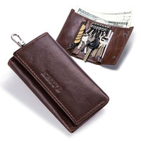 Mens wallet leather key bag fashion wallet key leather case home gift coin purse