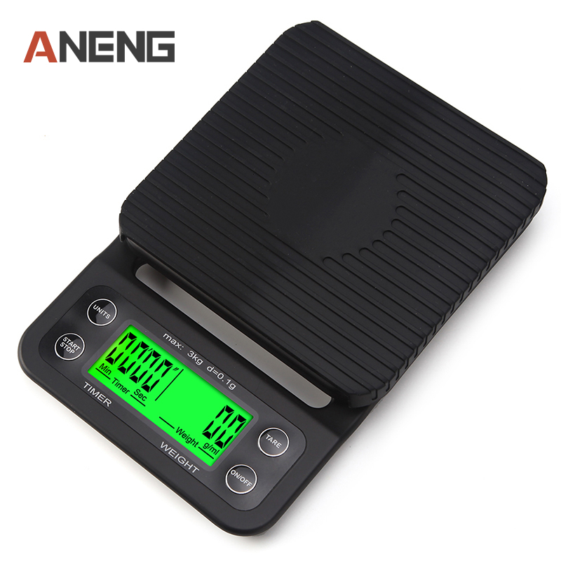 Portable 3kg 0.1g Drip Coffee Scale With Timer Electronic Digital Kitchen Scale New Design High Precision LCD Electronic Scales portable 1 7 lcd digital kitchen timer green white black
