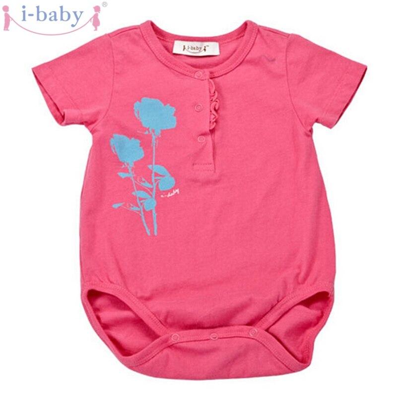 i-baby Baby Romper novorozenec kojenecké oblečení dívčí Rompers 100% bavlna krátký rukáv Romper Jumpsuits Oblečení Pink