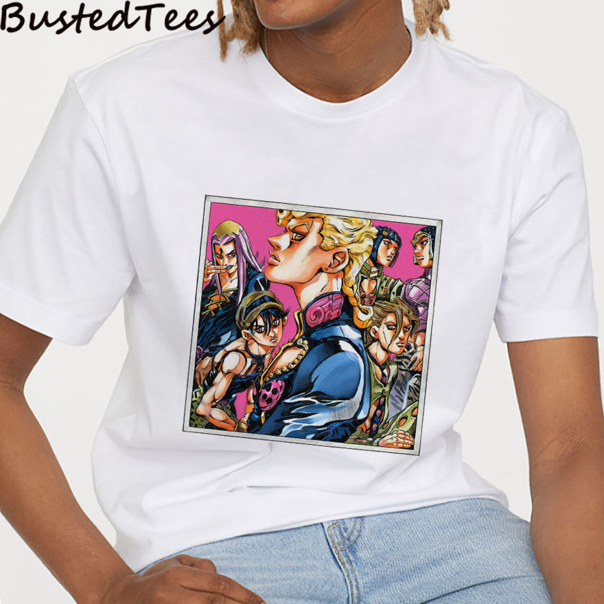 2019 BUSTED 90s NEW Harajuku Men Japanese Anime JOJO T-Shirt JJBA Passione Pink Print Hip Pop Streetwear Vintage Graphic Tee