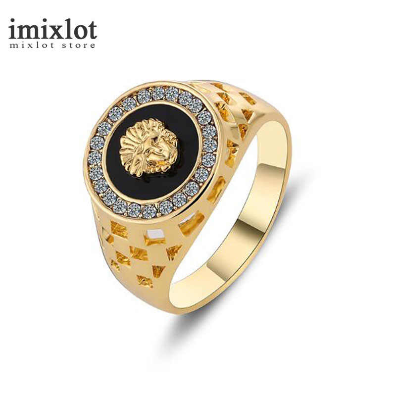 Hot Design Gold Color Avatar Dripping Oil Men's Ring Hollow Lion Head Rhinestone Ring Titanium Stainless Steel Men Rings