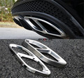 Stainless Steel Rear Dual Exhaust End Pipe Sticker Cover Trim For Mercedes C Class W205 C180 C200 C250 C300 C400 2015 2016 Sedan