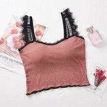 Womens Letter Print Strap Tanks Crop Top Female Lace Patchwork Summer Tank Tops Elastic Women Camisole Feminino Vest