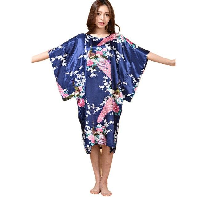 64853502d1 Hot Sale Chinese Women s Silk Sleepwear Robe Summer Lounge Home Dress  Printed Peacock Yukata Nightgown Plus Size J06