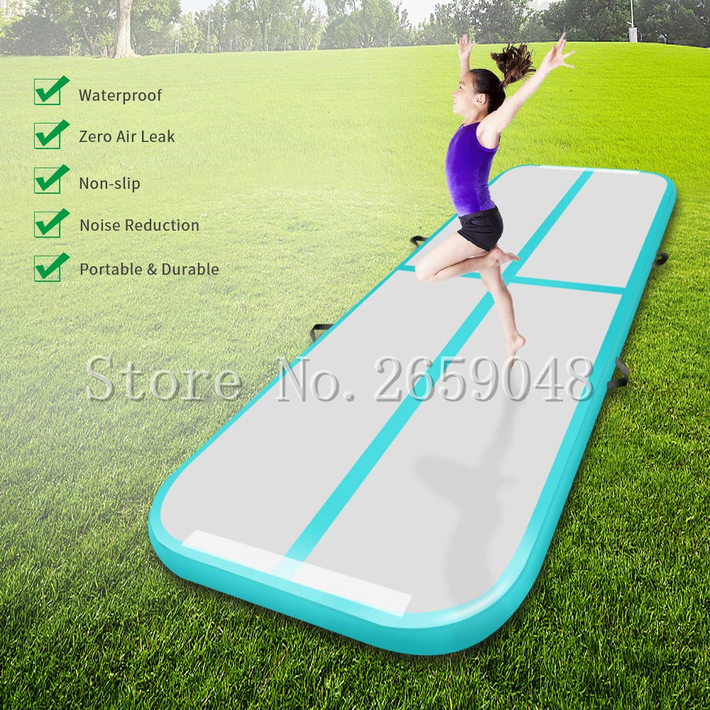 Free Shipping 5*1*0.1m 16ft Airtrack Tumbling Mat Air Track Inflatable Gymnastics Tumbling Floor Mats Air Tumbling Mat With Pump