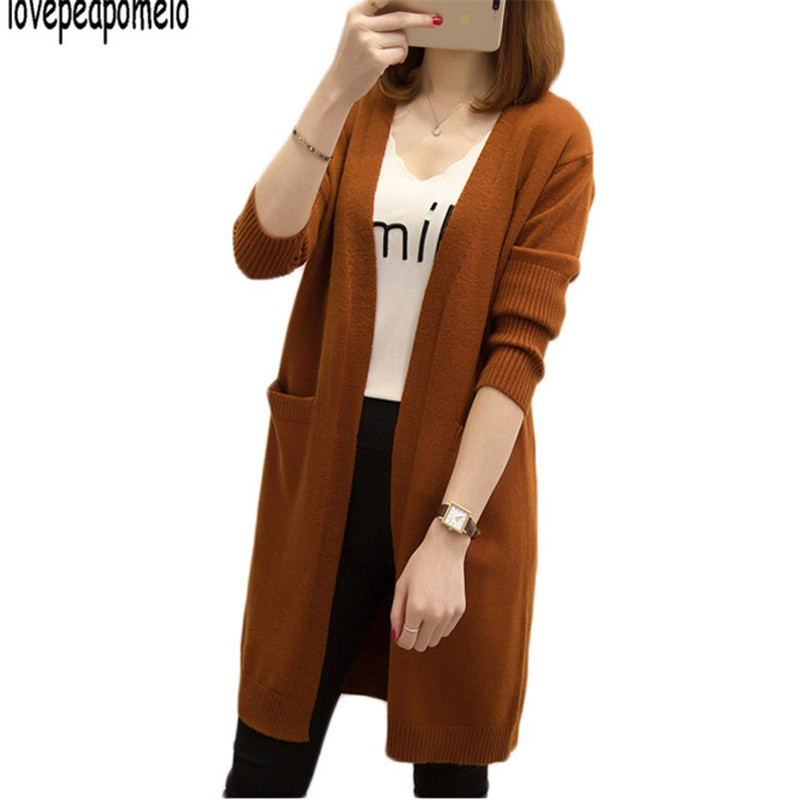 lovepeapomelo2018 Autumn Winter New Knit Sweater Cardigan Long Sleeve Pocket Solid Color Casual Knit Women Cardigan D339