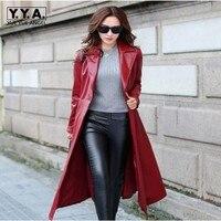 Üst Moda Vogue Bayan Palto Sokak Tarzı Uzun Coats Kuşaklı Faux Deri Siper Kadın Bayanlar Deri Ceketler Kırmızı Siyah