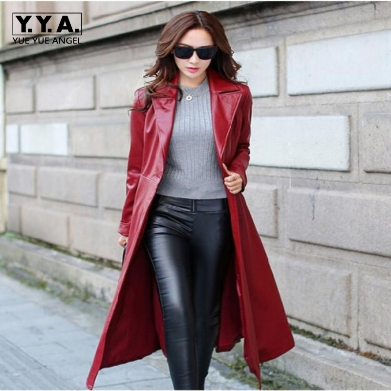 Long red leather jacket