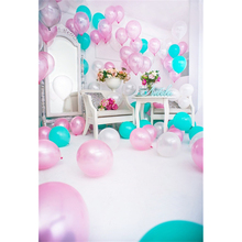 Laeacco Baby Birthday Party Balloons Flowers Mirror Home Decor Celebration Photo Backgrounds Photography Photo Backdrops Studio