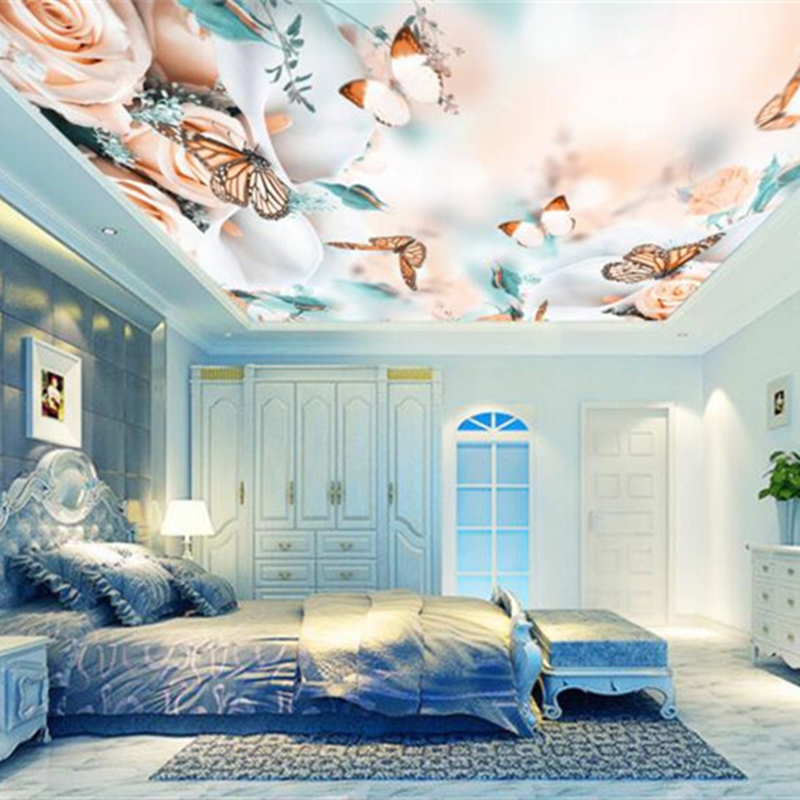 US $13.95 50% OFF|Romantic 3D Ceiling Murals Rose Flower Butterfly  Wallpapers for Living Room Bedroom Wall Papers Home Decor stretching  Ceiling-in ...