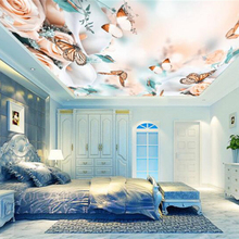 Romantic 3D Ceiling Murals Rose Flower Butterfly Wallpapers for Living Room Bedroom Wall Papers Home Decor stretching