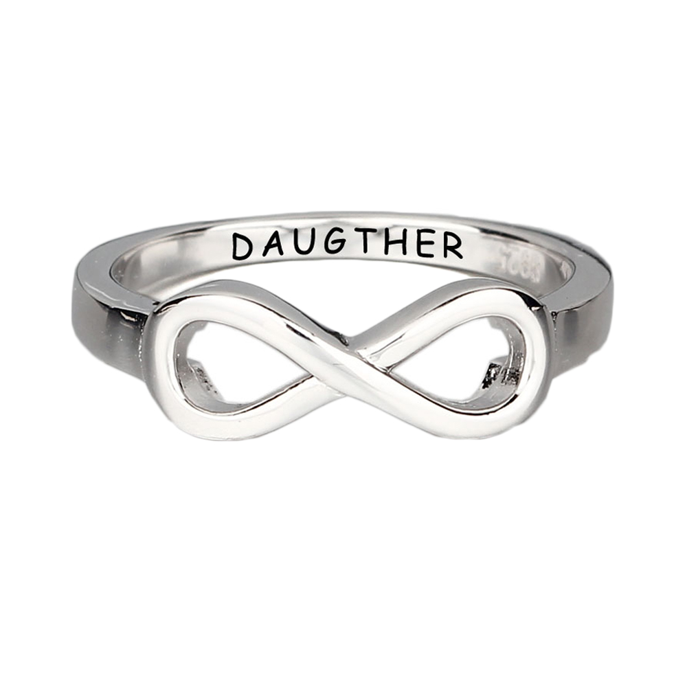 Personalized Engraved Friendship Rings 925 Sterling Silver Infinity Ring Cubic Zirconia  ...