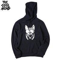 THE COOLMIND casual loose men cotton blend long sleeve men hoodies cool street style men misic cat printed hooded sweatshirts