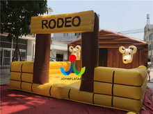 Inflatable Bull Ride Bouncer Mechanical Rodeo Bull Riding Machine Tarpaulin Inflatable for Kids Adults Playing
