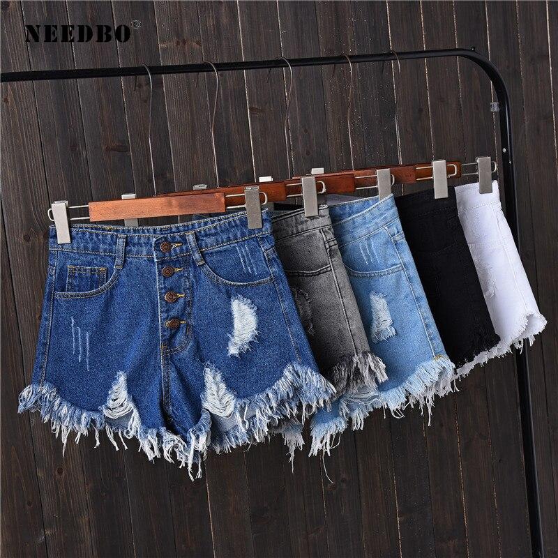NEEDBO   Shorts   Jeans Summer   Short   For Women 2019 Denim   Shorts   High Waist Casual   Short   Femme 6XL Plus Size Hole   Short   Pants Ladies