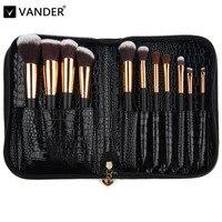 Vanderlife Pro 11 unids Maquillaje Cepillos Del Bolso Para Las Mujeres de Moda Cara suave de Labios Sombra de Ojos Maquillaje Kit de Cepillo Cosméticos Herramientas de Belleza