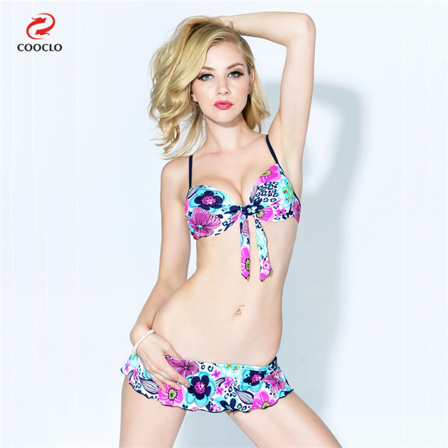 9e9ce1121d COOCLO Hot Sale Women Swimwear Floral Print Skirt Sexy Bikini Set Swimsuit  Young Girl Bikini Beachwear Bathing Suit for Women