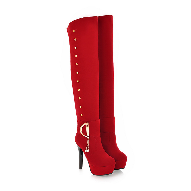ФОТО New Sales Black Brown Red Women Over the Knee Thigh High Boots Platform Casual Rivets Ladies Shoes A710-8 Plus Big Size 43 10
