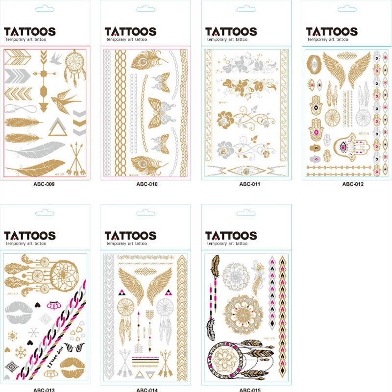 Tattoo Stickers Water Transfer Stamping Tattoo Stickers Custom ABC Series of Custom Metal Color Disposable Decorative Party Gift