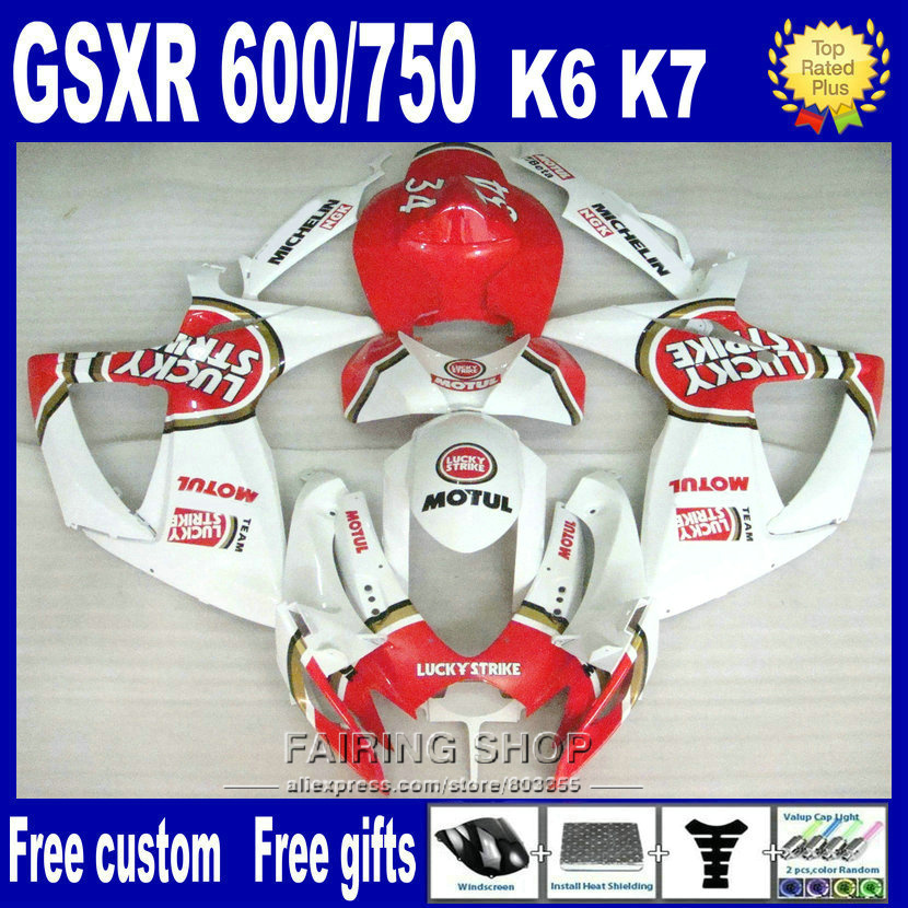 Injection molding free customize <font><b>fairing</b></font> <font><b>kit</b></font> for suzuki <font><b>gsxr</b></font> <font><b>600</b></font> 750 2006 2007 white red gsxr750 06 <font><b>07</b></font> <font><b>fairings</b></font> nv11 image