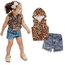 2017 Summer Baby Girls Clothes Set Sleeveless Leopard Hooded T Shirt+Holes Denim Short Pant 2Pcs Set  children's clothes girls