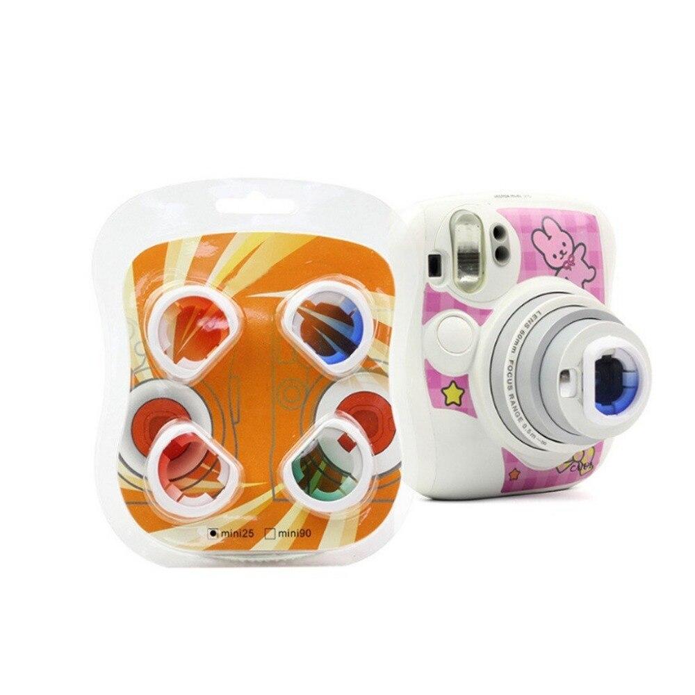 4pcs/Set Gradient Color Fujifilm Instax Mini 25 Instant Camera Colorful Filters Magic Close Up Lens Camera-in Camera Filters from Consumer Electronics
