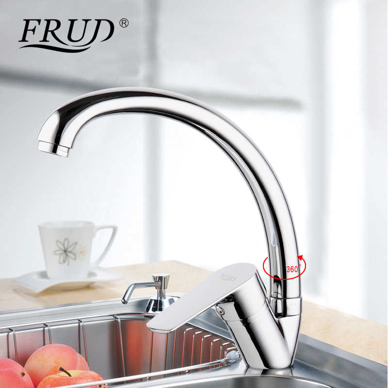 Frud new silver High Quality water mixer tap kitchen sink faucet torneira 360 kitchen sink Mixer water taps kitchen mixer r41105